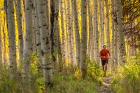 Man running through trails