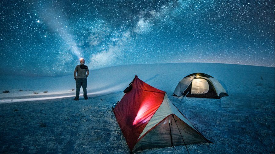 Camping under the stars at the White Sands National Monument in New Mexico.