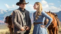 Westworld photo with Dolores (Evan Rachel Wood) and Teddy (James Marsden)