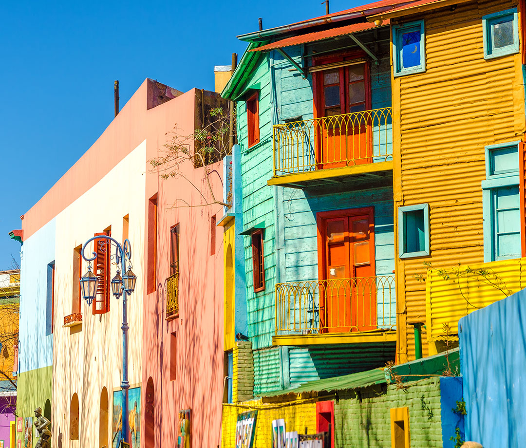 Painted houses on Caminito Street in La Boca