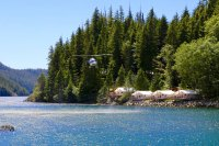 Helicopter over Clayoquot Wilderness Retreat
