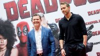 American actors Josh Brolin and Ryan Reynolds attend 'Deadpool 2' photocall at Villa Magna Hotel on May 7, 2018 in Madrid, Spain.