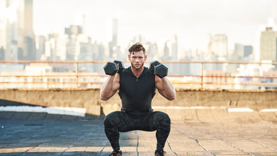 Dumbbell squat on rooftop