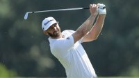PONTE VEDRA BEACH, FL - MAY 09: Dustin Johnson of the United States plays a shot during practice rounds prior to THE PLAYERS Championship on the Stadium Course at TPC Sawgrass on May 9, 2018 in Ponte Vedra Beach, Florida.