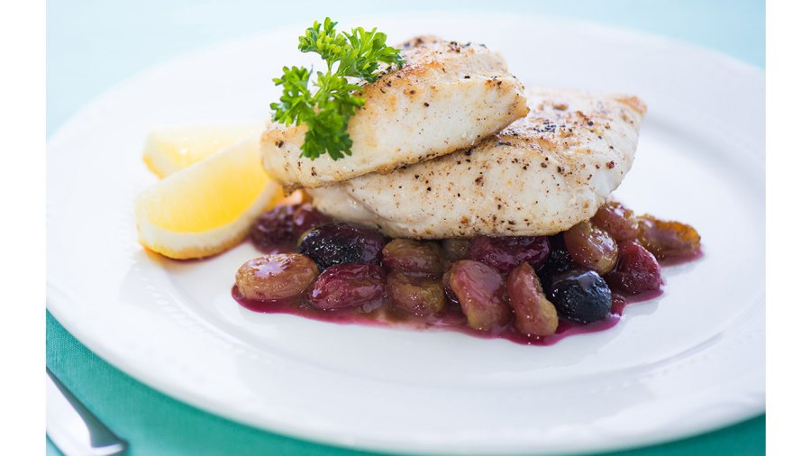 Halibut With Balsamic Roasted Grapes