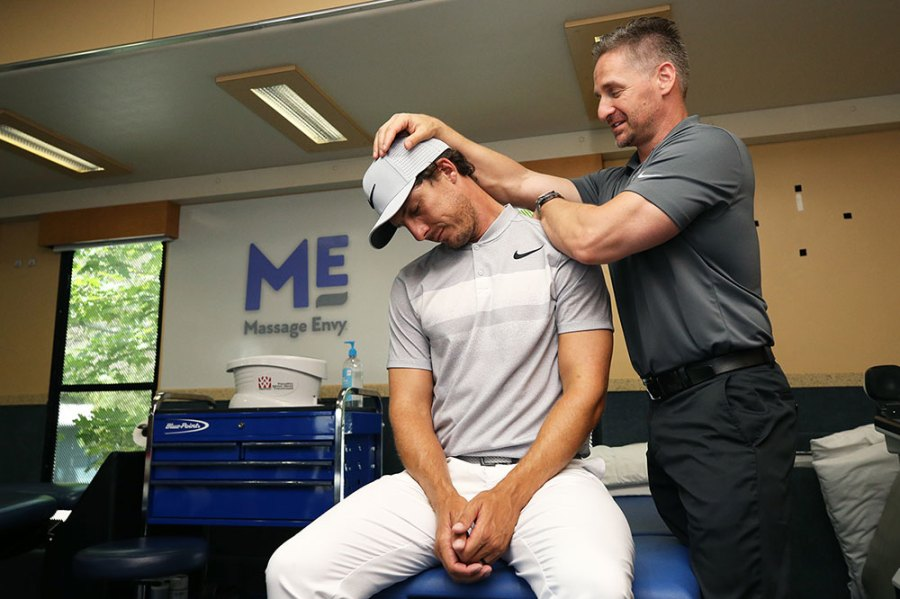 Jamie Lovemark stretches inside of the Player Performance Center on June 21, 2017 in Cromwell, Connecticut. Massage Envy announced its official marketing partnership of the PGA TOUR and PGA TOUR Champions and sponsorship of the Player Performance Centers.