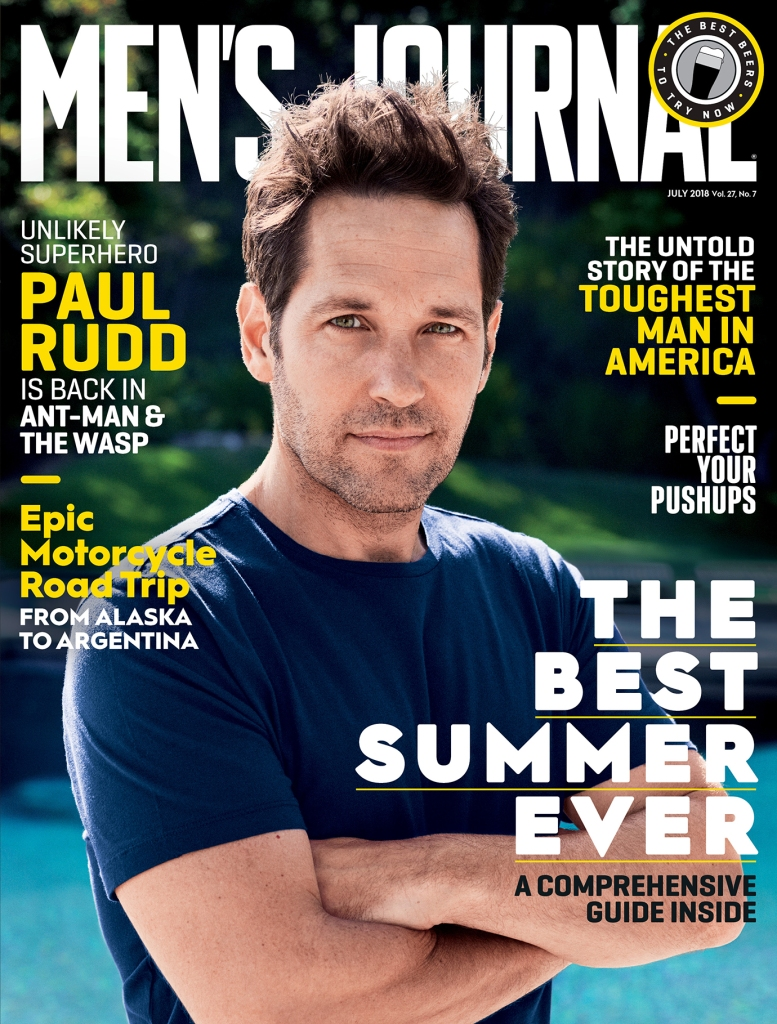 Paul Rudd photographed by Simon Emmett for the July 2018 cover of Men's Journal.