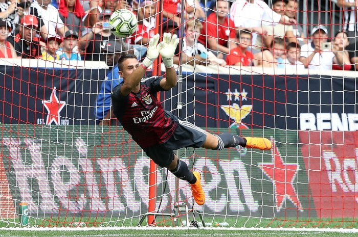 Odisseas Vlachodimos #99 of Benfica makes a save in the second half during the International Champions Cup at Red Bull Arena on July 28, 2018 in Harrison, New Jersey.