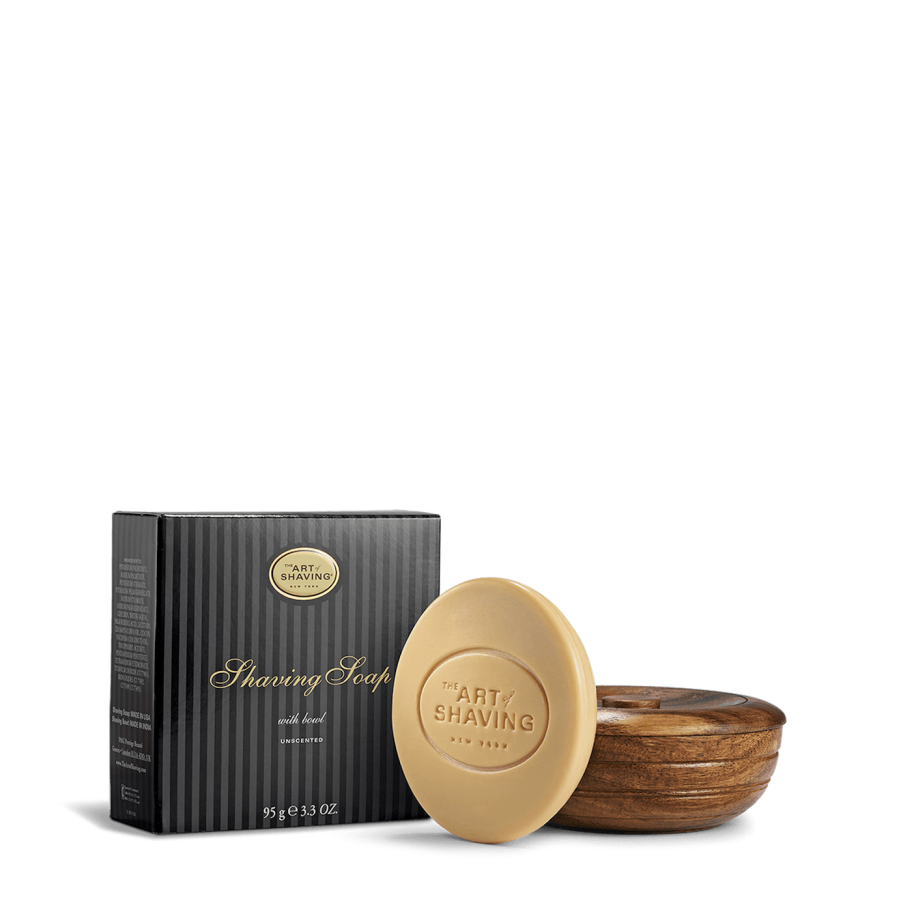 UNSCENTED SHAVING SOAP WITH WOODEN BOWL
