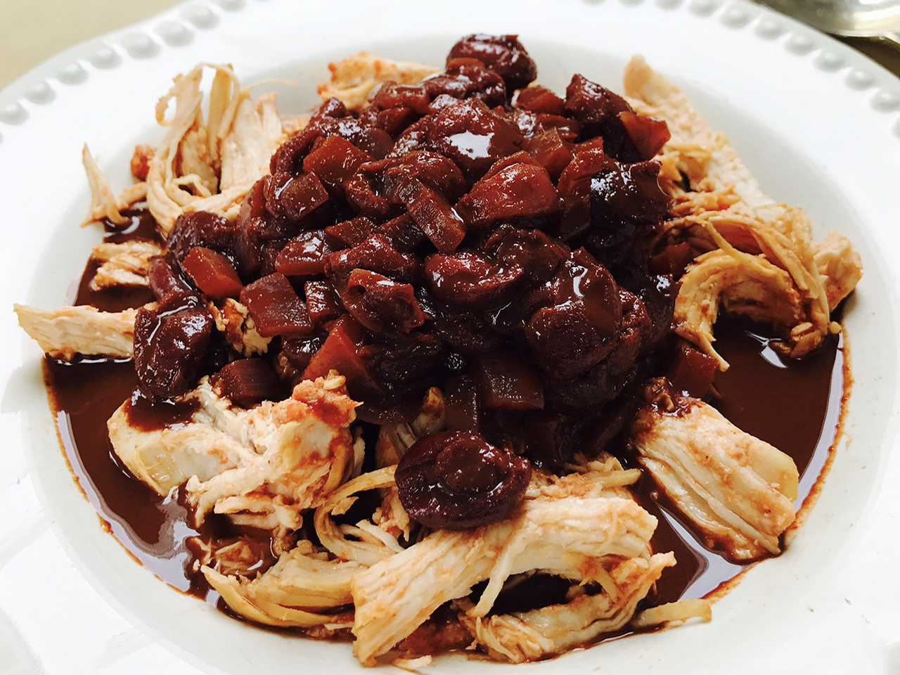 Pressure-cooker Pulled Chicken With Cherry Chocolate Sauce