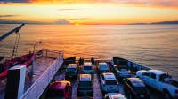 Cars Parked On Deck Of A British Columbia Ferry Vessel Moving Through The Salish Sea