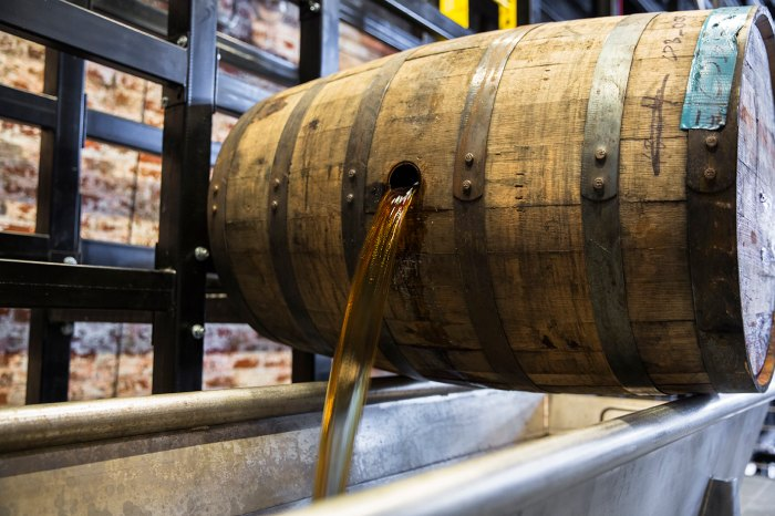 Barrel dumping at Old Forester in downtown Louisville, Kentucky.