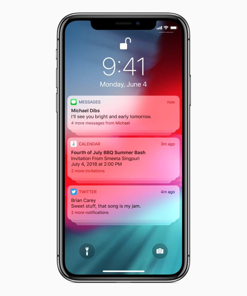 iOS 12 will allow users to group notifications by app on the lock screen, making them easier to manage.