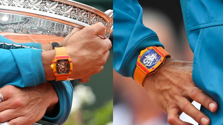 Rafael Nadal (Richard Mille watch detail) during day fithteen of the 2018 French Open at Roland Garros on June 10, 2018 in Paris, France.