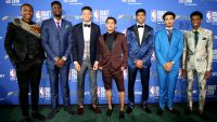 2018 NBA Draft prospects pose for a photo during the Mtn. Dew Kickstart Green Carpet on June 21, 2018