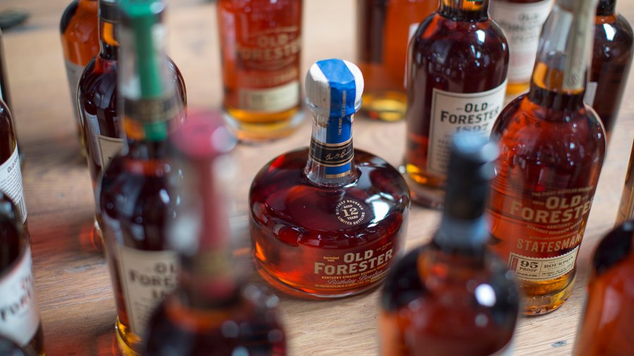 Bottles of Old Forester's different bourbons on display at its new facility in downtown Louisville.