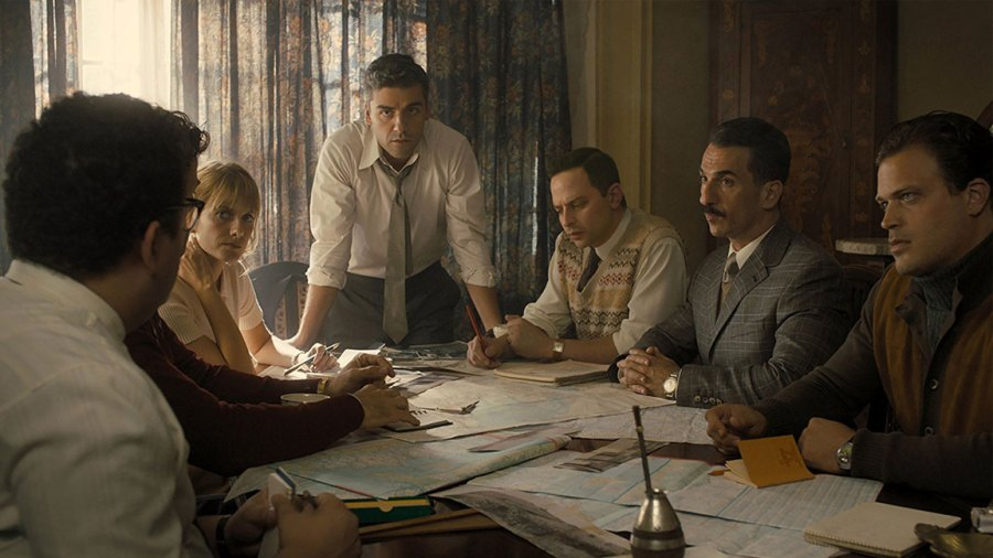 Oscar Isaac, Nick Kroll, and Mélanie Laurent in MGM's Operation Finale film.