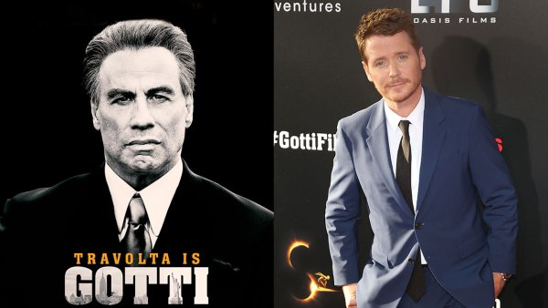 L: Gotti movie poster with John Travolta, R: Kevin Connolly attends the New York Premiere of 'Gotti' at SVA Theater on June 14, 2018 in New York City.