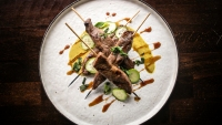 Chef Erik Lobner's Beef Satay with Coconut Curry Sauce and Sweet Soy Reduction