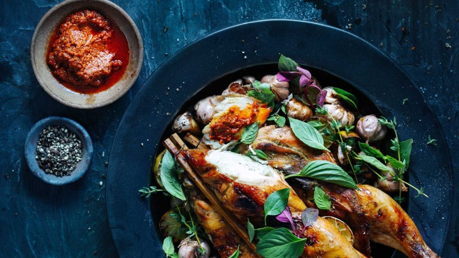 Whole roasted chicken with garlic, lime and herbs
