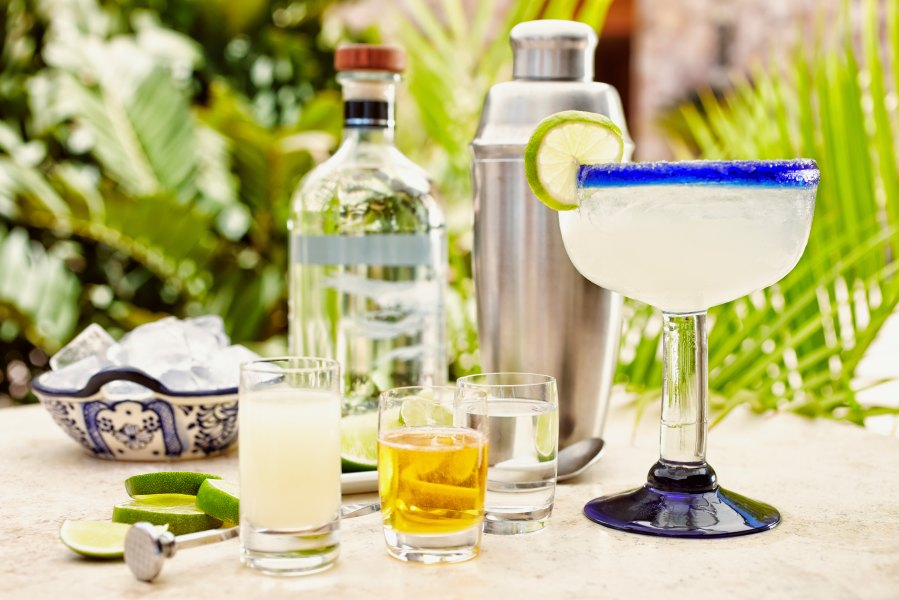 Tequila and margarita ingredients