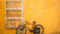 A parked bike on the beautiful streets of Colombia's classic colonial gem, Cartagena