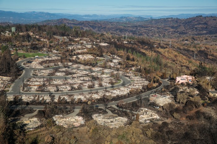 The community of Fountaingrove, California, after the devastating Calistoga fire swept through the area