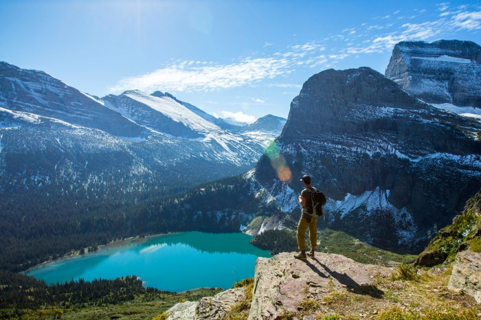 Scenic view of hiker at Glacier National Park