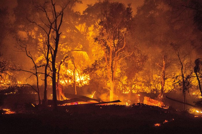 A garage and rental unit burn during the 2017 Atlas Fire near Napa, which destroyed some 51,000 acres