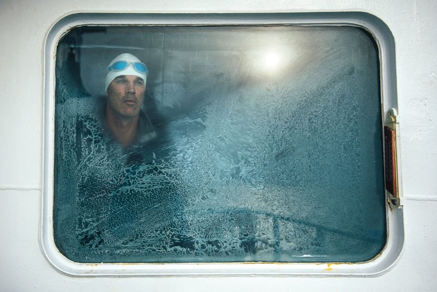 Lewis Pugh waiting to take the plunge into Ross Sea's 30-degree water