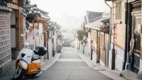 Motorcycle in the Bukchon Hanok village in the morning, South Korea
