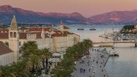 View from Kamerlengo Fortress over the old town of Trogir at sunset
