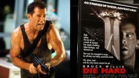L: Bruce Willis running with automatic weapon in a scene from the film 'Die Hard', 1988. R: Poster of Die Hard