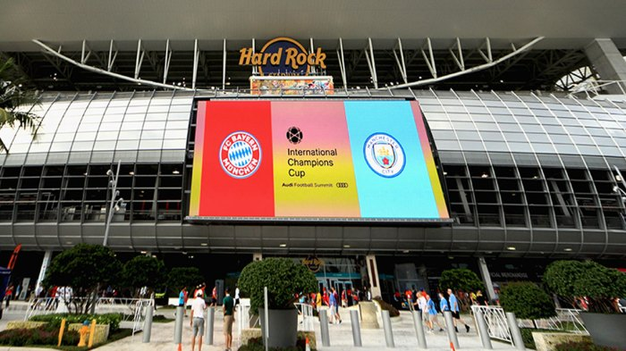 An exterior view of Hard Rock Stadium is seen prior to the International Champions Cup 2018 match between FC Bayern Munich and Manchester City on July 28, 2018 in Miami, Florida.