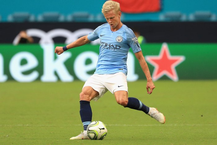 Oleksandr Zinchenko #35 of Manchester City controls the ball during the first half of the International Champions Cup 2018 match against FC Bayern Munich at Hard Rock Stadium on July 28, 2018 in Miami, Florida.