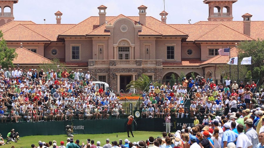 Phil Mickelson plays his tee shot on the 1st hole in front of the clubhouse during the final round of THE PLAYERS Championship on THE PLAYERS Stadium Course at TPC Sawgrass on May 11, 2008 in Ponte Vedra Beach, Florida.