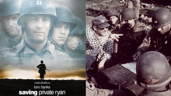 L: Poster for the movie 'Saving Private Ryan (directed by Steven Spielberg), 1998. R: Steven Spielberg Directs Tom Hanks And Crew On The Set Of The Wwii Drama, 'Saving Private Ryan.' 1998