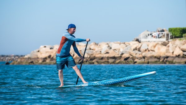 Travis Russel paddling with Keeper and CBC brands in Oceanside CA.