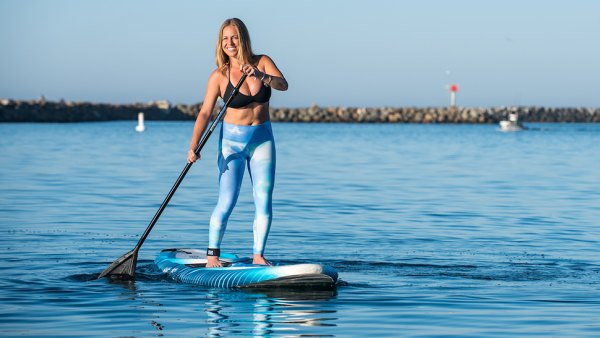Jacqueline Gephart paddling with Keeper and CBC brands in Oceanside CA.