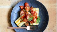Grilled tofu with the tomato-shallot chutney