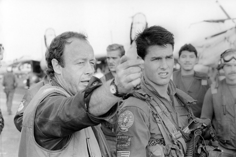 American actor Tom Cruise with British director Tony Scott on the set of his movie Top Gun.
