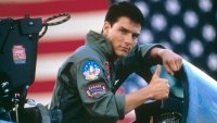 American actor Tom Cruise on the set of Top Gun, directed by Tony Scott.