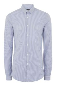 Blue And White Stripe Muscle Fit Long Sleeve Shirt