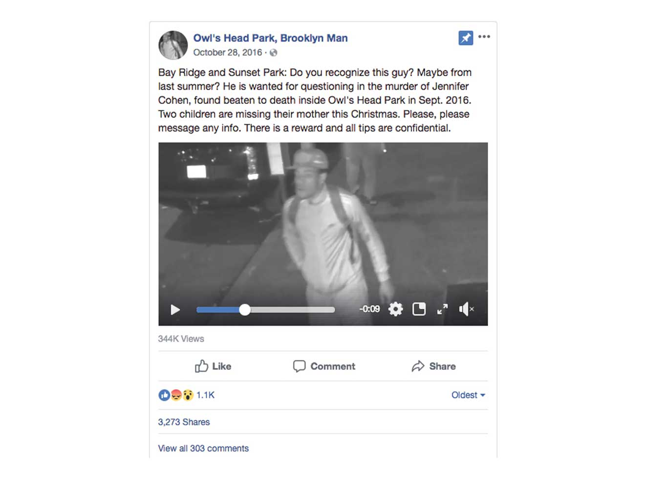 Targeted Facebook ad Billy Jensen posted to gain information on unsolved murders.