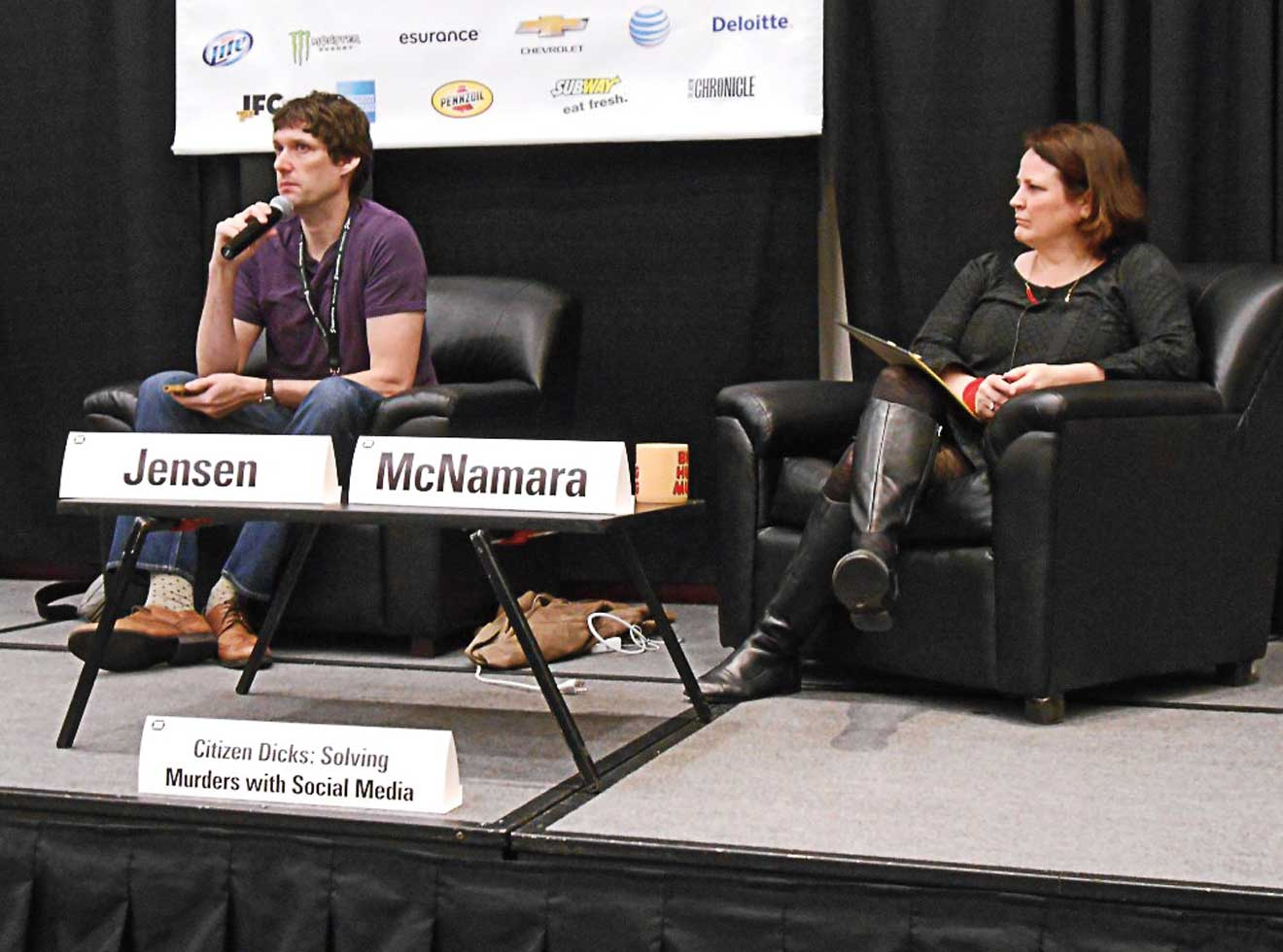 Billy Jensen and the late author Michelle McNamara, seen here at the South by Southwest conference, in 2014.