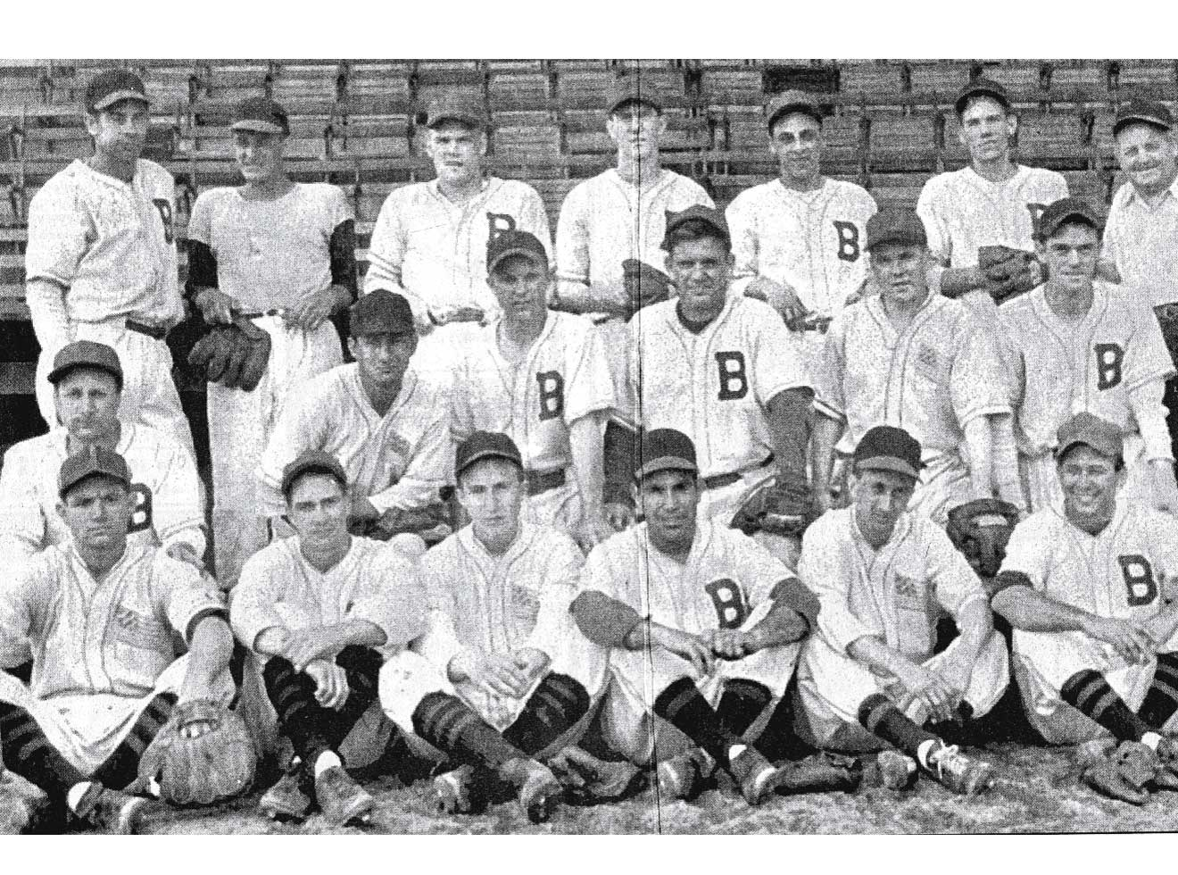 "The 1947 Bridgeport Bees, with ""Fritz"" Luciano in the top row, third from right."
