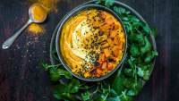 Tumeric spiced carrot dip with fresh cress and coriander
