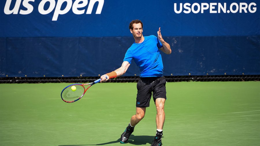 Andy Murray of Great Britain practices before the start of the US Open at the USTA Billie Jean King National Tennis Centre on August 22, 2018 in New York City, United States.