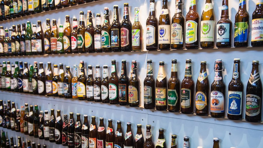 BERLIN, GERMANY - JANUARY 19: Some varieties of beer are shown on January 19, 2016 in Berlin, Germany.