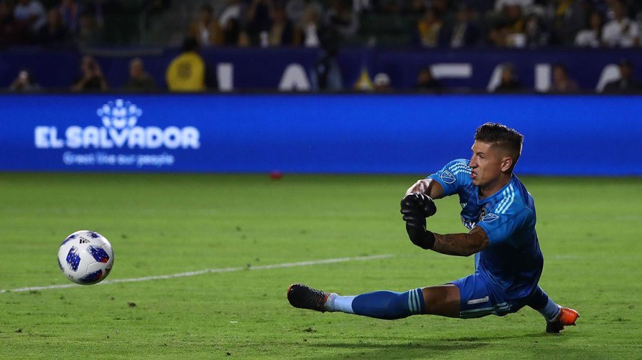 Goalkeeper David Bingham #1 of Los Angeles Galaxy makes a save on a shot by FC Dallas in the second half of the MLS match at StubHub Center on May 30, 2018 in Carson, California. FC Dallas defeated the Galaxy 3-2.